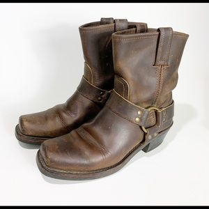 Frye Harness Dingo Boots Ankle Brown 8.5 Leather